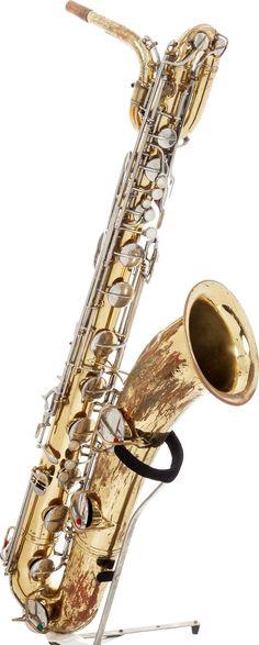 """Experienced"" Conn Elkhart brass Baritone Saxophone --- https://www.pinterest.com/lardyfatboy/"