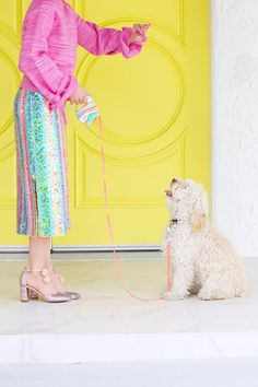 and our vintage dog leash! Colourful Outfits, Colorful Fashion, Dog Leash, Holiday Outfits, Color Inspiration, Puppy Love, Cute Puppies, Cool Pictures, Whimsical