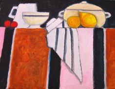 Nappe rayée 30 x 40 - Schilderij,  40x30 cm ©2015 door Hélène-Sophie Courcelle -                                                                                                            Figuratieve kunst, Naïeve kunst, Papier, Keuken, Interieurs, Stilleven, Eten & Drinken, fruit, nature morte, table, cuisine