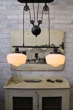 Dining or kitchen bench - Schoolhouse Double Arm Pulley Light with opal glass shades Dining Table Lighting, Light Table, Glass Pendant Shades, Glass Shades, Waterfall Lights, Pulley Light, Commercial Lighting, Australia Living, Hanging Lights
