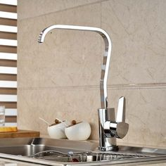 91.52$  Buy now - http://ali4bd.worldwells.pw/go.php?t=32454953843 - Single Handle Chrome Brass Kitchen Faucet Swivel Spout Waterfall Spout Single Handle Hole Mixer Tap 91.52$