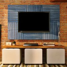 Deck Colorido Painel Modular 50x50 Isabela Revestimentos (Placa) Azul Del Rey Tv Wall Design, Tv Unit Design, Earthy Home Decor, Diy Home Decor, Tv Pallet, Small Hall, Simply Home, Living Room Tv Unit, Condo Interior