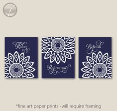 Bathroom Art Prints Relax Rejuvenate Refresh Geometric Mandala Flower Set of (3) 5x7, 8x10 or 11x14 // Navy Blue, Grey Decor - Unframed