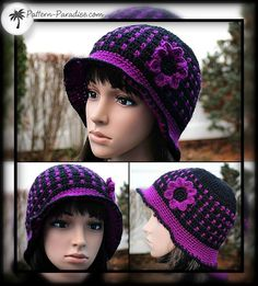 Free crochet pattern for beanie hat with plain band or brim and includes flower applique by pattern-paradise.com #crochet #patternparadisecrochet #hat