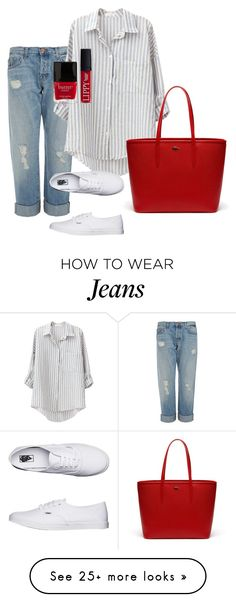 """Boyfriend jeans"" by viderski on Polyvore featuring J Brand, Vans, Lacoste and Butter London"