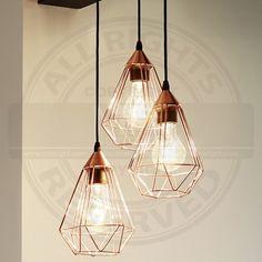 Design Hänge Leuchte Ø310mm/ Retro/ Shabby/ Vintage/ Kupfer/ Pendel Lampe Gitter Hängelampe Hängeleuchte Pendellampe Pendelleuchte