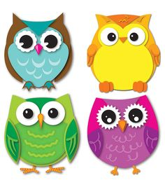Express your contemporary sense of style by decorating your classroom with the Colorful Owls assorted mini Colorful Cut-Outs(R). This multipurpose set features 36 owl cut-outs in a variety of colors t Owl Classroom Decor, Classroom Themes, Classroom Labels, Classroom Teacher, Kindergarten Classroom, Owl Crafts, Crafts For Kids, Paper Crafts, Cubby Tags