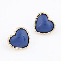 Madewell Dark Blue Heat Shape Design Alloy Stud Earrings  www.asujewelry.com