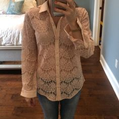 Top Pink see through lace button up top Ann Taylor Tops