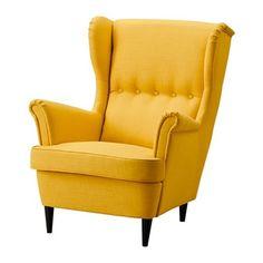 IKEA STRANDMON wygodny stylowy fotel uszak ŻÓŁTY