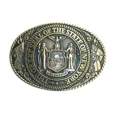 New York State Seal Tony Lama Solid Brass Vintage Belt Buckle Vintage Belt Buckles, Solid Brass, 1980s, Seal, New York, Collection, Belt, New York City, Harbor Seal