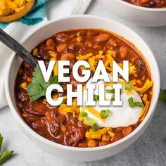 Tasty Vegetarian Recipes, Vegan Recipes Videos, Vegan Dinner Recipes, Cooking Recipes, Healthy Recipes, Vegan Meals, Vegan Chili Recipes, Vegan Recipes With Black Beans, Recipes For Vegetarians