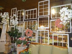 old windows and door deviders | Experience and Creative Design, Ltd. · Old Windows as a Room Divider