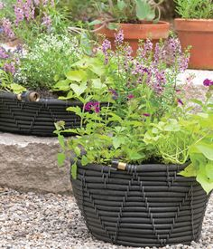 So smart! Turn a soaker hose into a self-watering planter with this clever how-to.