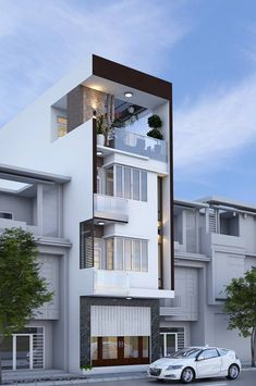 29 Best Modern Dream House Exterior Designs You Will Amazed - House Front Design, Small House Design, Modern House Design, Villa Design, Narrow House Designs, Bungalow Haus Design, 3d Home, Box Houses, Street House
