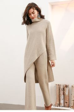 秘密盒子 沃玛新款高领宽松不规则毛衣阔腿针织裤时尚针织套装女-淘宝网
