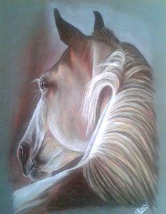 [DRAW] Ca y est, j'ai fini mon tout premier pastel ! J'aime bien le résultat, même si c'est loin d'être parfait. Loin, Parfait, Pastel, Horses, Painting, Horse, Beginning Sounds, Animaux, Paint