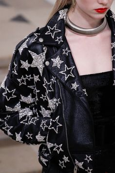 Starry Eyed - Saint Laurent silver star embellished leather jacket - Fall 2016 Ready-to-Wear Fashion Show Details...x