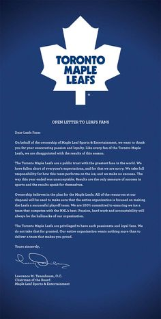 letter to leafs fans, begging forgivness for not making the play offs 7 years in a row!!  GO SENS GO!