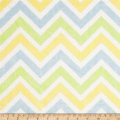 Minky Cuddle Zig Zag Lime/Baby Blue/Snow from @fabricdotcom  This Minky Cuddle Chevron fabric has an extremely soft 3mm pile that's perfect for baby accessories, blankets, throws, pillows and stuffed animals. Colors include baby blue, lime, snow white and yellow.