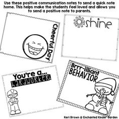 Positive Note Home / Note from the Teacher Printable