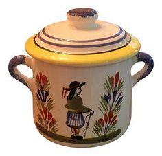Quimper Mustard Pot & Serving Spoon on Chairish.com