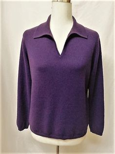 NWOT CHARTER CLUB PETITE Sz PM PURPLE 100% 2 PLY CASHMERE POLO NECK SWEATER #CharterClub #VNeck #Casual