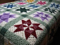 Star Motif Granny Square Bedspread – free crochet pattern. More Great Patterns Like This