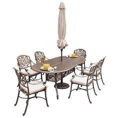 Home Styles Floral Blossom 7 Piece Dining Set with Umbrella