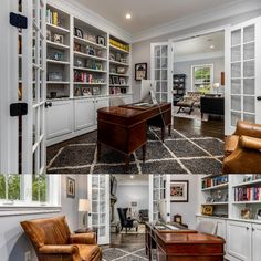 Work from home in this executive library with double french doors, recessed lights, custom built-in shelving, and hardwood flooring. Listed in Vienna, Virginia for $1.6M by The Casey Samson Team is a Wall Street Journal Top Team in Northern Virginia