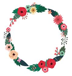 Floral wreath with roses vector frame by cyberok on VectorStock®
