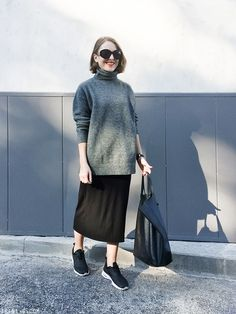 Trini | The Reformation black dress - Balenciaga sweater - The Row sunglasses - Nike Air Max Thea sneakers - Céline bag