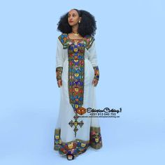 Ethiopian traditional dress new fashion Handwoven fabric Hand embroidered cotton Made to order Processing time weeks Express delivery business days Ethiopian Traditional Dress, Traditional Dresses, Eritrean, Habesha Kemis, Kaftan Designs, Ethiopian Dress, Culture Clothing, Queen Dress, Holiday Dresses