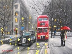 PETE RUMNEY FINE ART MODERN ACRYLIC OIL ORIGINAL PAINTING LONDON SNOW BUS TAXI in Art, Artists (Self-Representing), Paintings | eBay