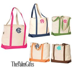 Canvas Beach Tote Bags- Monogrammed Beach Bag from The Palm Gifts - Select Color. $24.95, via Etsy.