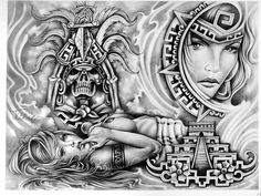 Arte Cholo, Cholo Art, Chicano Art Tattoos, Chicano Drawings, Aztec Tattoos Sleeve, Prison Drawings, Mexican Art Tattoos, Mayan Tattoos, Aztec Drawing