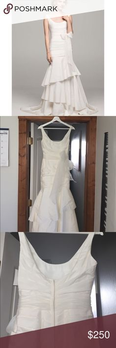 Taffeta Ruched Tank Mermaid Tier Wedding Dress Davids bridal. NWT. Comes with dress bag. Never worn never altered. Light and comfortable. Beautiful flow when walking down the aisle. David's Bridal Dresses Wedding