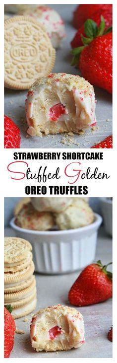 Strawberry Shortcake Stuffed Golden Oreo truffles - Made with Golden Oreo cookies and cream cheese. The perfect easy way to enjoy the classic dessert with a fresh strawberry filling. | Life Made Sweeter