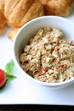 Just tried out this delicious #lowcarb snack or meal - albacore tuna + pesto + mayo + sun-dried tomatoes + parmesan cheese (skip the croissant)
