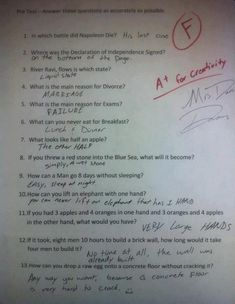 All I see is a page of correct answers: | 36 Test Answers That Are Too Clever For Their Own Good