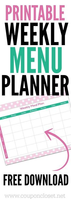 Having trouble with what to eat each night? Download this FREE Meal Planning Chart Printable - This easy printable weekly menu planner will help you plan your meals so you can save more money on your groceries.