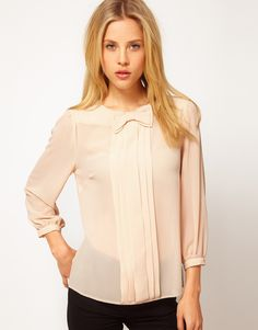pleated top with bow / asos
