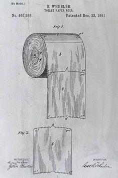 This patent drawing for toilet paper from 1891 shows the right way to hang it. #patentdrawing  #PatentDrawing