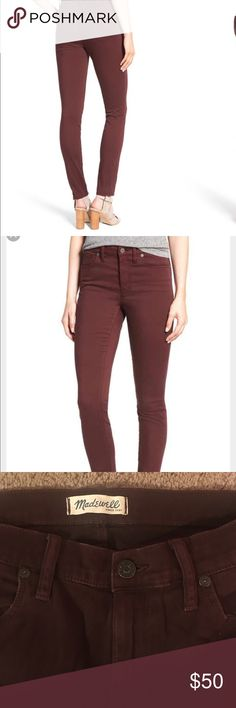 Madewell High Riser Skinny Jean Madewell high riser skinny jeans in a maroon color. In good condition. 98% cotton, 2% elasthanne. Size 29. Madewell Jeans Skinny
