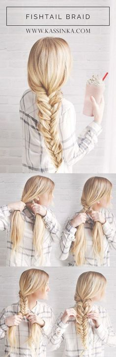 Kassinka Fishtail Braid Tutorial / http://www.himisspuff.com/easy-diy-braided-hairstyles-tutorials/73/