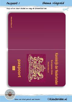 Paspoort 1 voor thema vliegveld, juf Petra van kleuteridee, passport 1 for preschool role play, free printable.