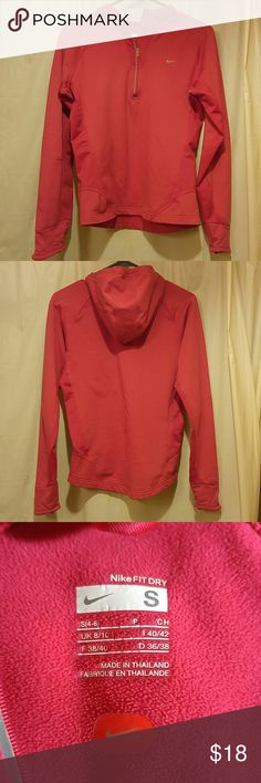 Niki half-zip jacket Niki dry fit with hood and is a half zip.  True to size not tight fit.  No pilling. Super cute but to small for me. Nike Jackets & Coats