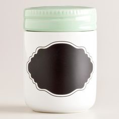 Mint Ceramic Chalk Spice Jar with Chalk Label | World Market