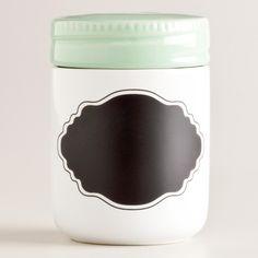 Mint Ceramic Chalk Spice Jar with Chalk Label / World Market