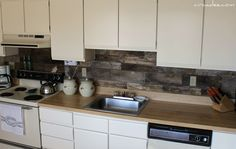 wooden back-splash #ideas #kitchen #DIY probably cover it with plexiglass for easy cleaning though